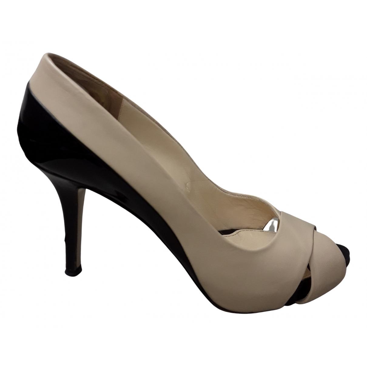 Max Mara N Beige Leather Heels for Women 38 EU