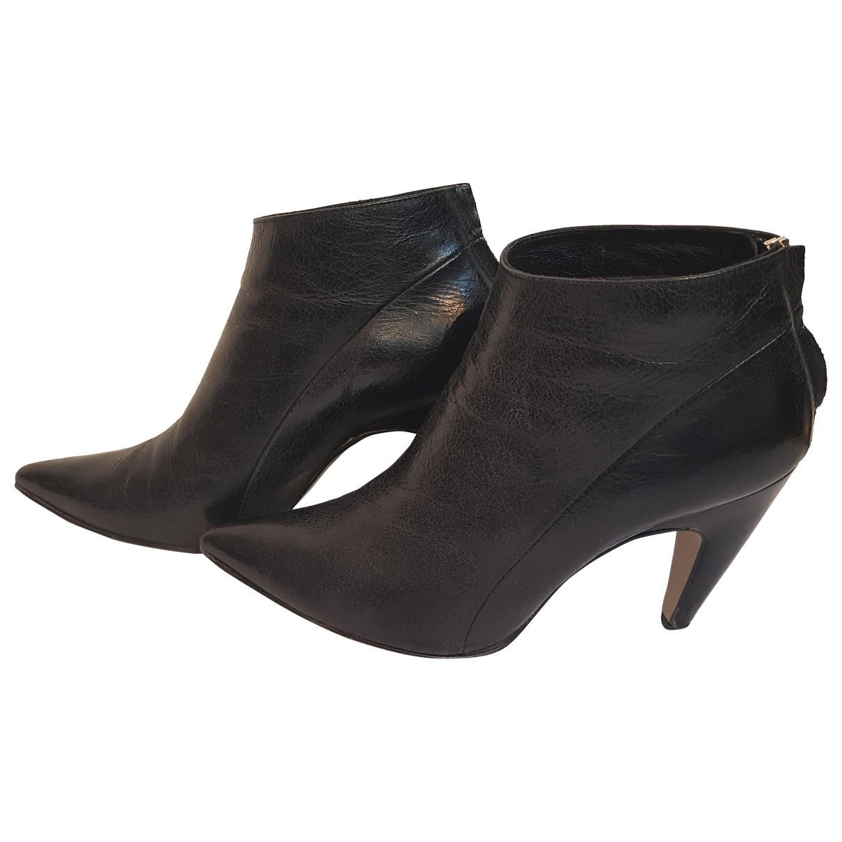 Non Signé / Unsigned \N Black Leather Ankle boots for Women 40 EU