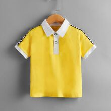 Toddler Boys Letter Tape Polo Shirt