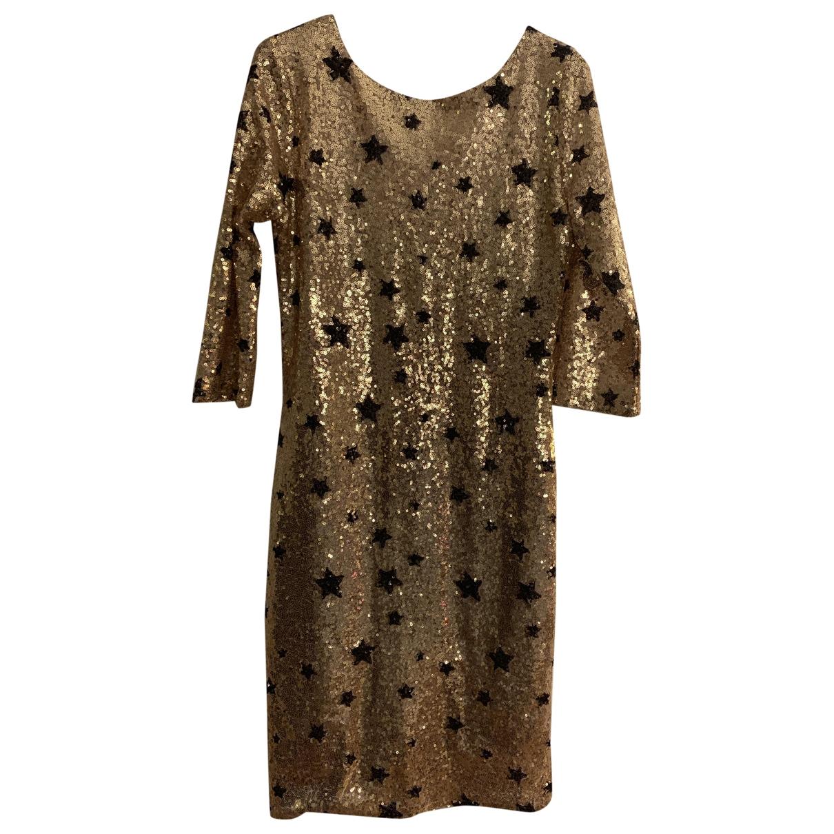 Non Signe / Unsigned \N Kleid in  Gold Mit Pailletten