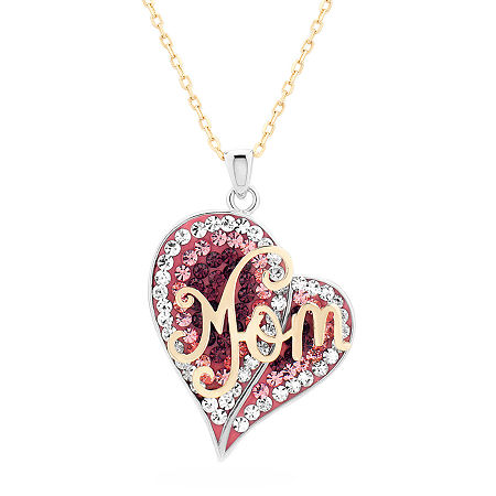 Womens Multi Color Crystal 18K Gold Over Silver Sterling Silver Heart Pendant Necklace, One Size , No Color Family