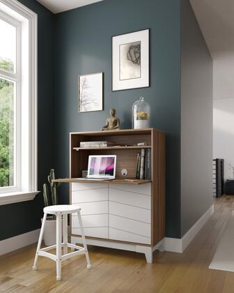 402340 Nexera Boss Secretary Desk Convenient with 2-Door Bottom Storage Section  Adjustable Shelves  in Nutmeg Melamine  White Melamine And Matte