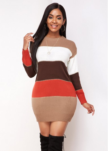Cocktail Party Dress Contrast Long Sleeve Round Neck Sweater Dress - M