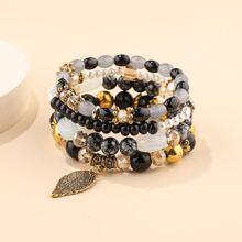 4 Stuecke Armband mit Blatt Anhaenger und Perlen