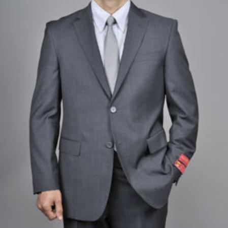 Charcoal Gray Sharkskin 2Button Wool Suit