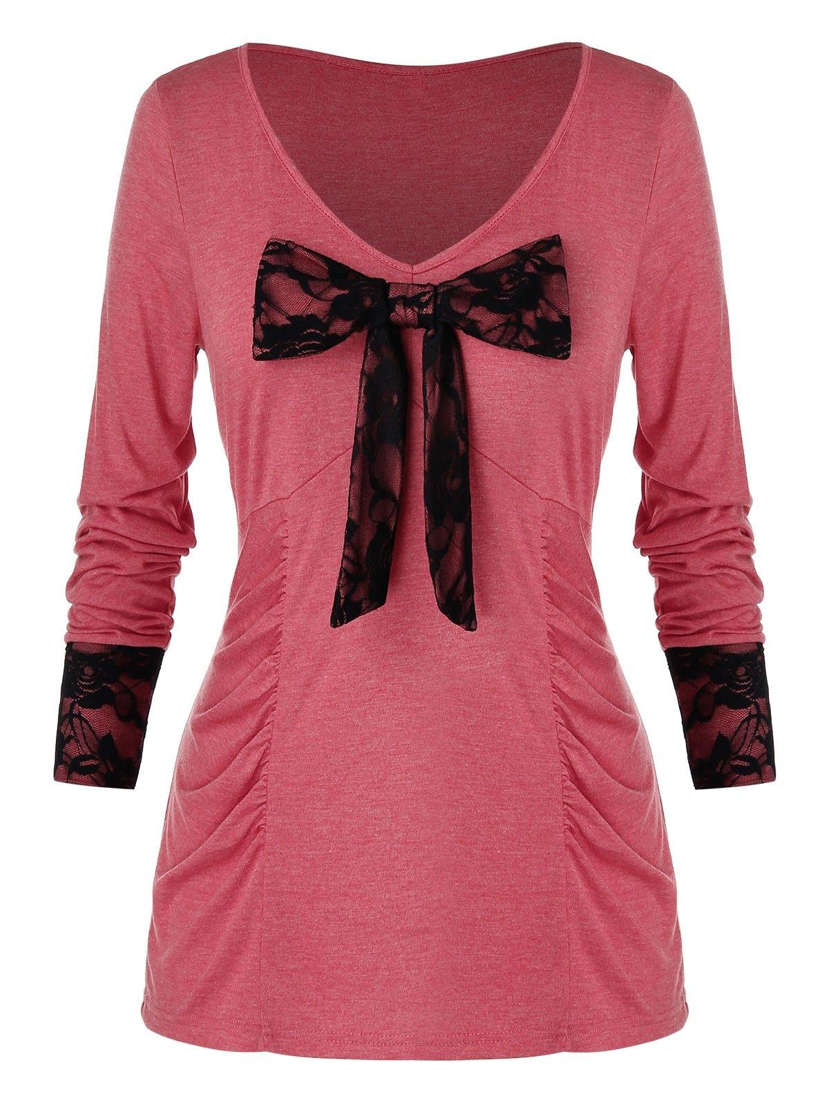 Plus Size Floral Lace Bowknot T-Shirt