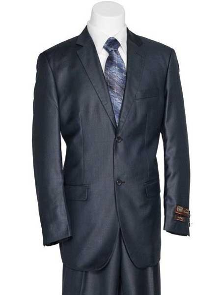 Mens Navy Blue 2 Button Solid European Design Slender Fit Shiny Suit