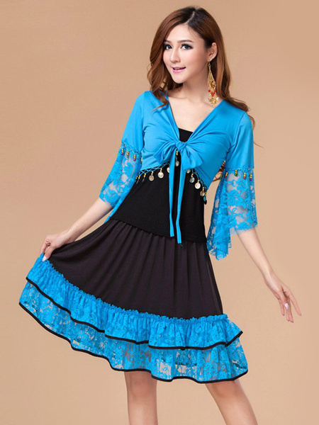 Milanoo Latin Dance Costumes Pleated Great Silk Dresses Dancer Dancing Wears Outfit For Women Halloween