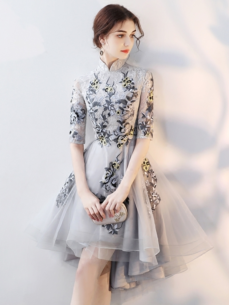 Ericdress Asymmetry Appliques A-Line High Neck Homecoming Dress