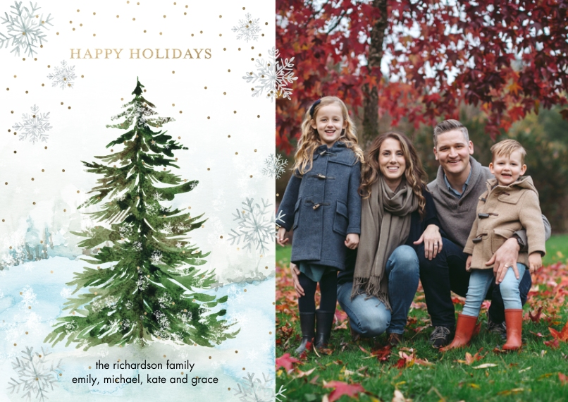 Christmas Photo Cards 5x7 Cards, Premium Cardstock 120lb with Rounded Corners, Card & Stationery -Holiday Snowflakes Tree by Tumbalina