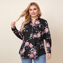 Bluse mit Blumen Muster, Reissverschluss und dekorativen Taschen