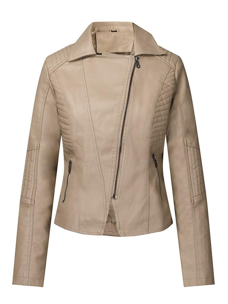Ericdress Slim Plain Leather Zipper PU Short Jacket