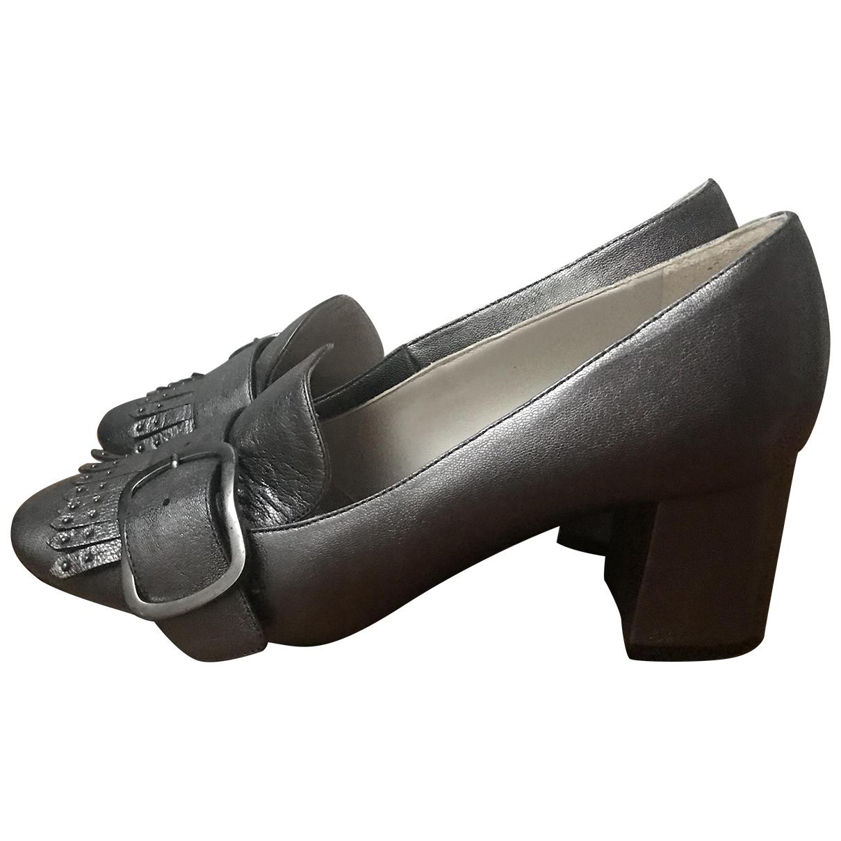 Minelli - Escarpins   pour femme en cuir - gris