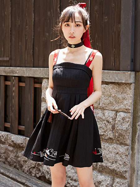 Milanoo Chinese Style Lolita JSK Dress Embroidered Two Tone Black Lolita Jumper Skirt