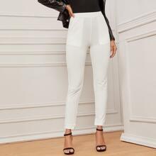 Slant Pocket Solid Skinny Pants