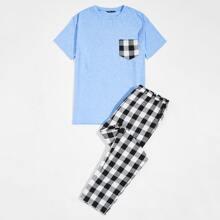 Schlafanzug Set mit Taschen Flicken und Karo Muster