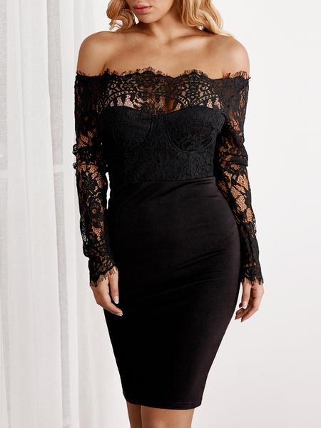 Yoins Black Lace Insert Plain Off Shoulder Long Sleeves Bodycon Hem Dress