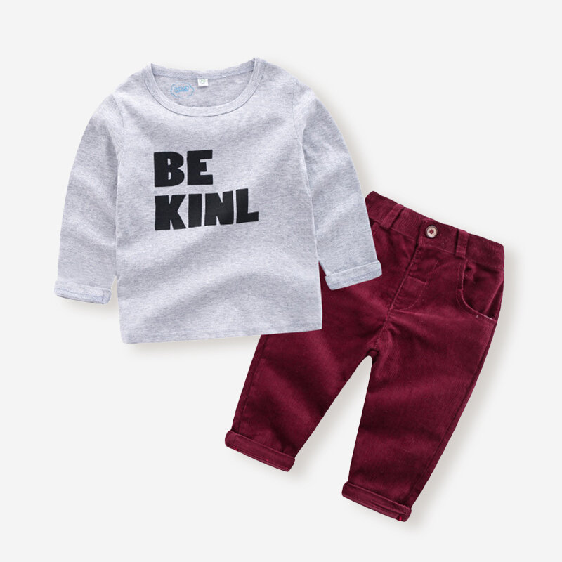 Boy's Letter Print Long Sleeves Tops+Corduroy Pants Set For 1-7Y