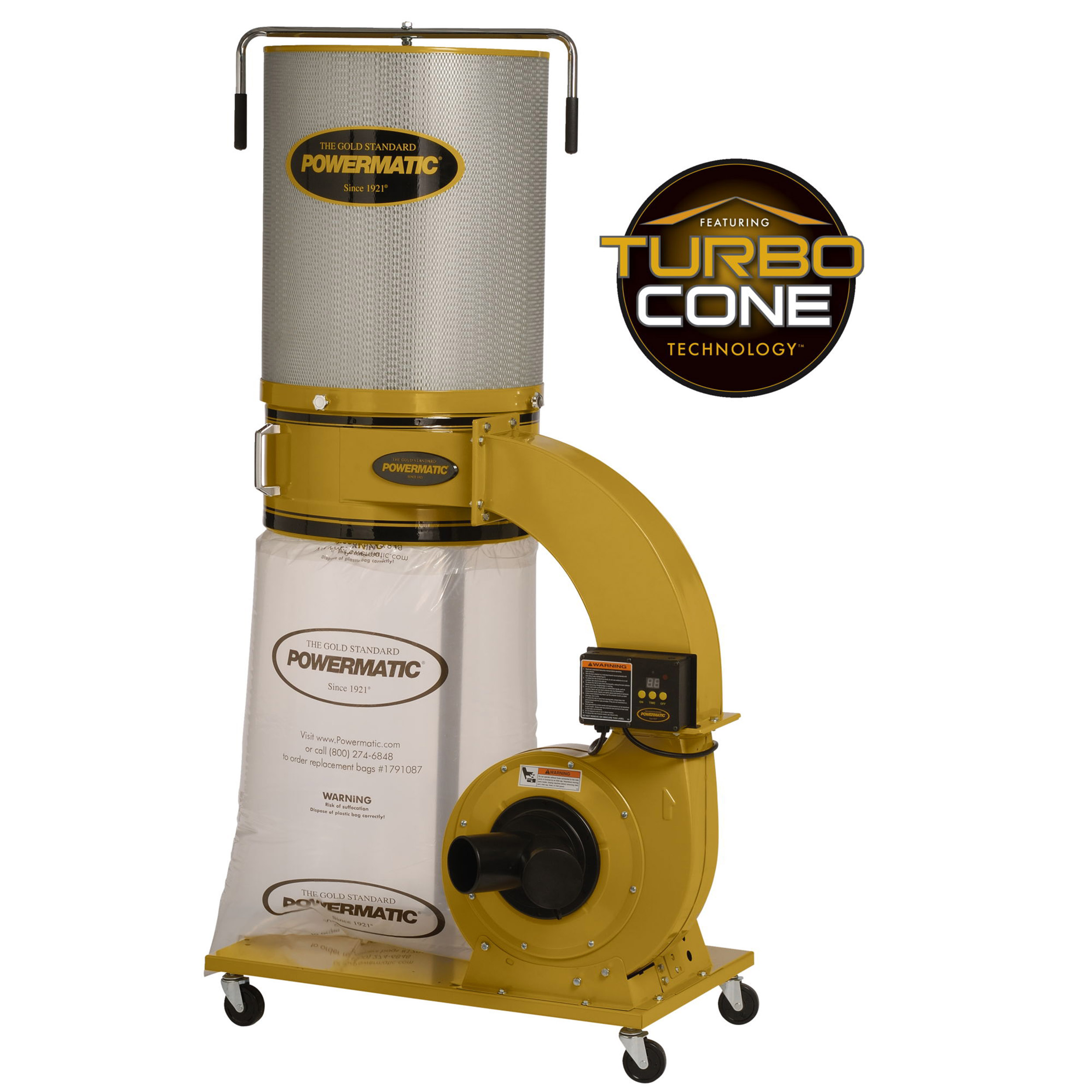 TurboCone Dust Collector, 1.75HP 1PH 115/230V, 2-Micron Canister Kit, Model PM1300TX-CK