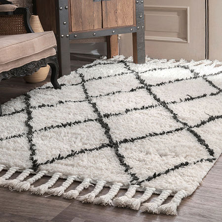 nuLoom Hand Knotted Fez Shag Rug, One Size , White