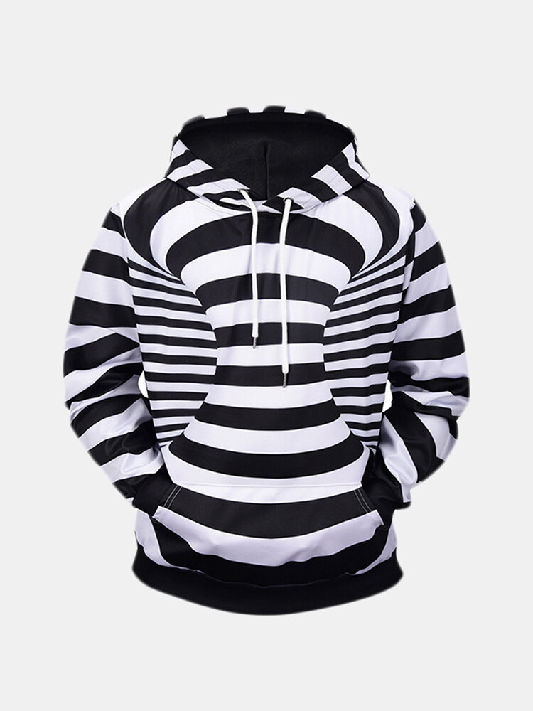 Mens Zebra Stripes Pattern Long Sleeve Loose Hoodies