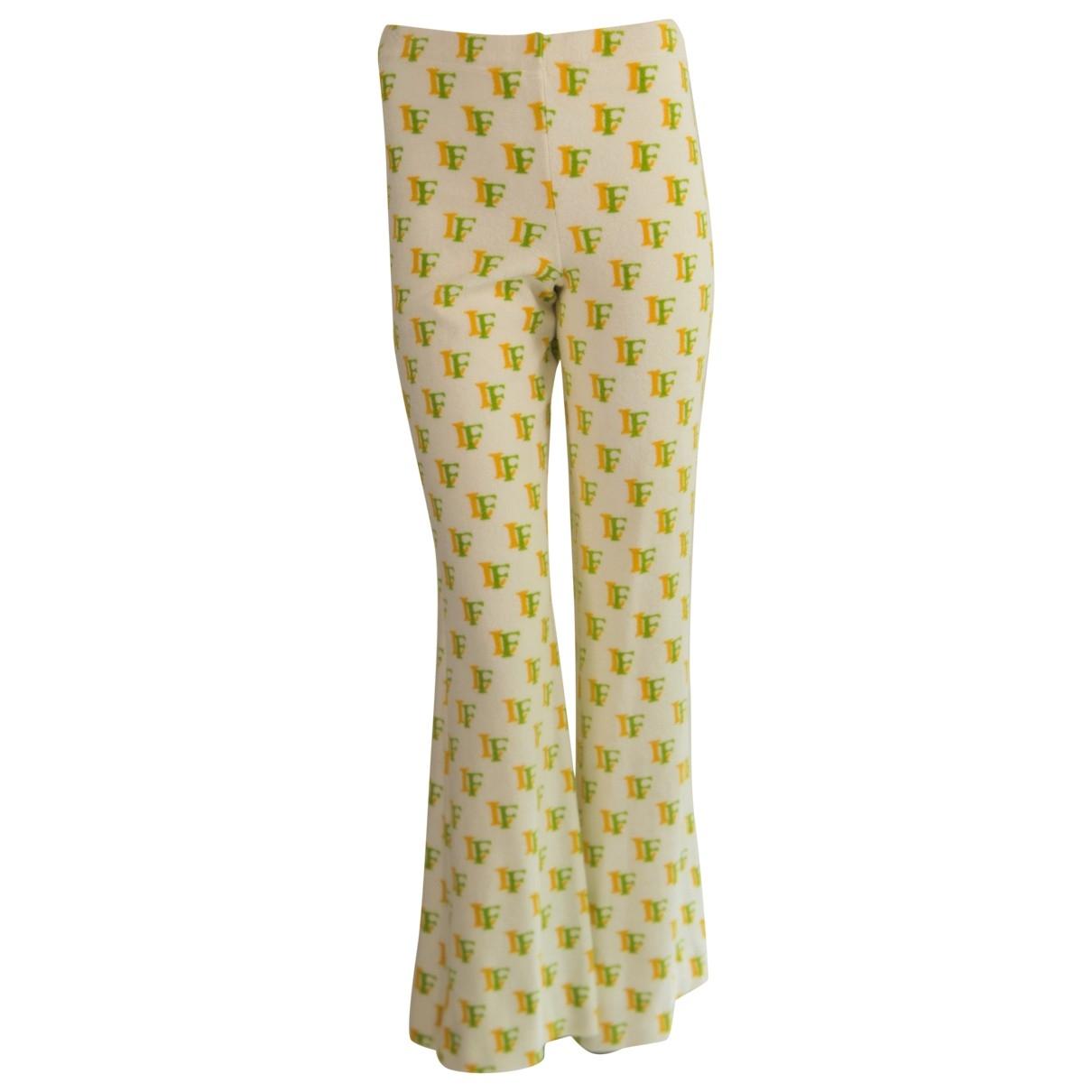 Louis Feraud \N White Cotton Trousers for Women 38 FR