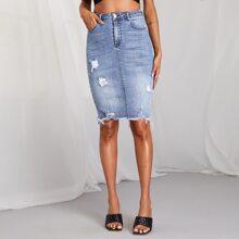 Ripped Detail Raw Hem Light Wash Denim Skirt