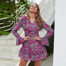 Flounce Sleeve Floral Print Backless A-line Dress