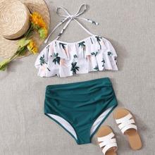 Tropical Tiered Layer Halter Bikini Swimsuit