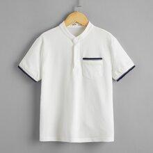 Polo Shirt mit Streifen am Saum und halber Knopfleiste