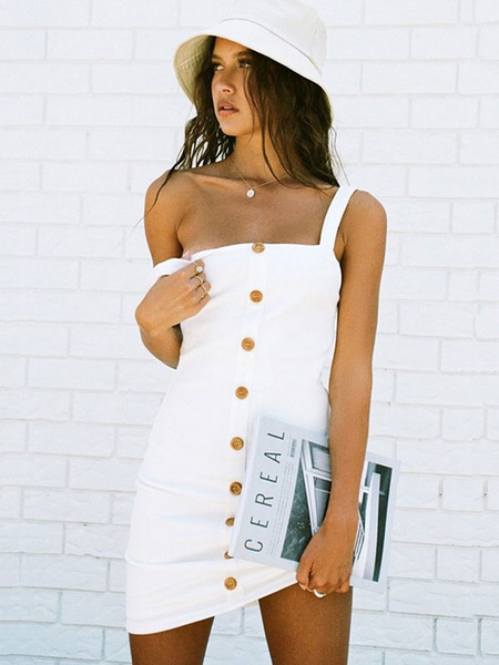 Milanoo White Bodycon Dress Button Up Sleeveless Women Summer Dresses