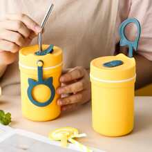 1pc Portable Water Bottle With 1pc Straw