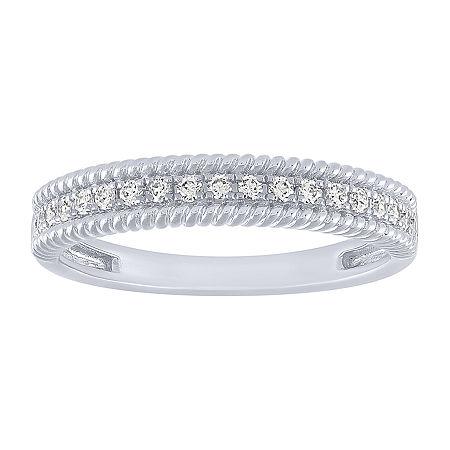 1/5 CT. T.W. Genuine White Diamond 10K White Gold Wedding Band, 7 , No Color Family