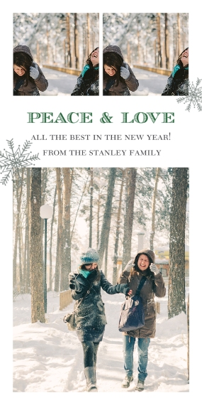 Holiday Photo Cards Flat Matte Photo Paper Cards with Envelopes, 4x8, Card & Stationery -Peace & Love