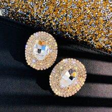1pair Rhinestone Decor Earrings