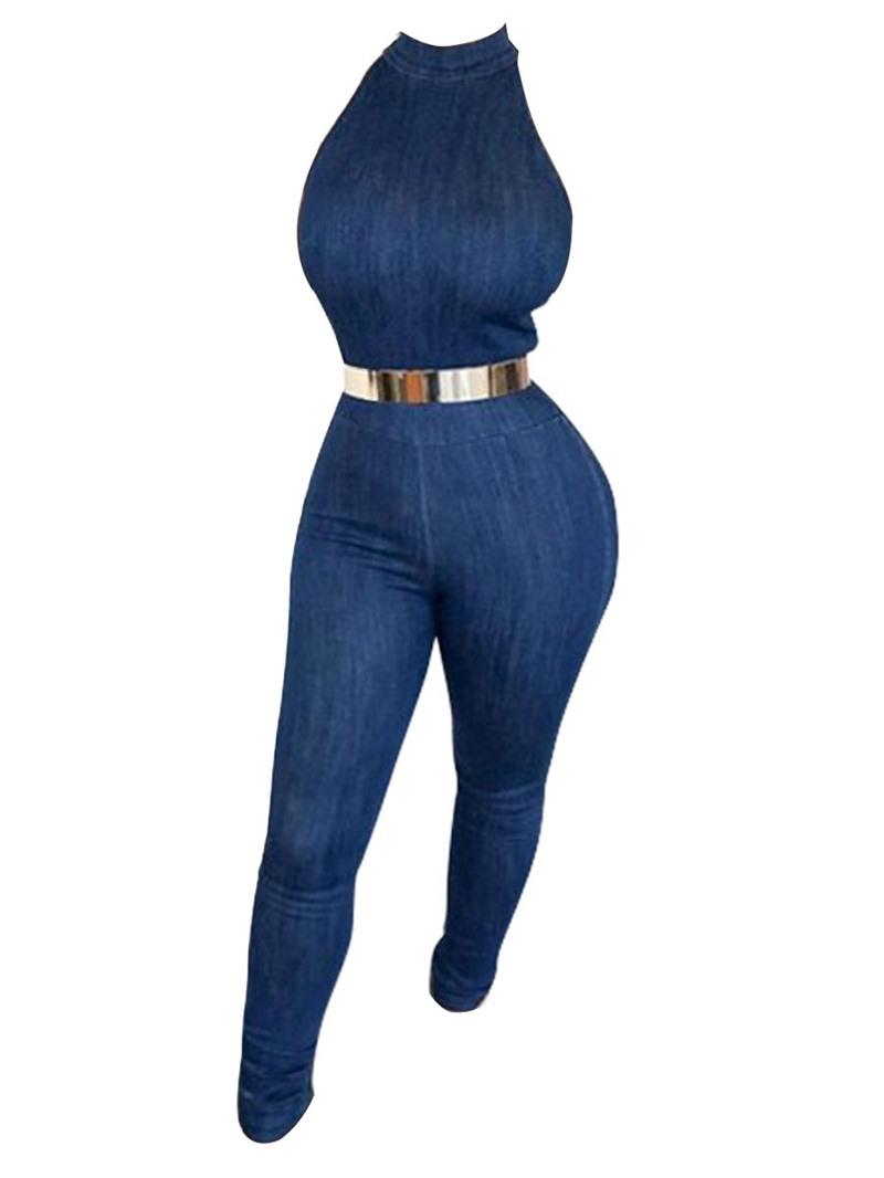 Ericdress Skinny Denim Women's Jumpsuit