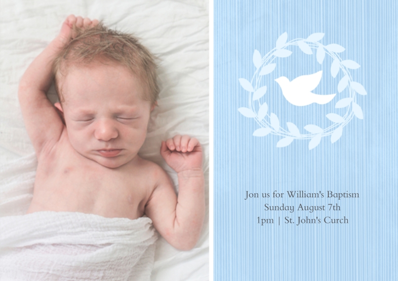 Christening + Baptism Flat Matte Photo Paper Cards with Envelopes, 5x7, Card & Stationery -Wreathed Dove - Sky