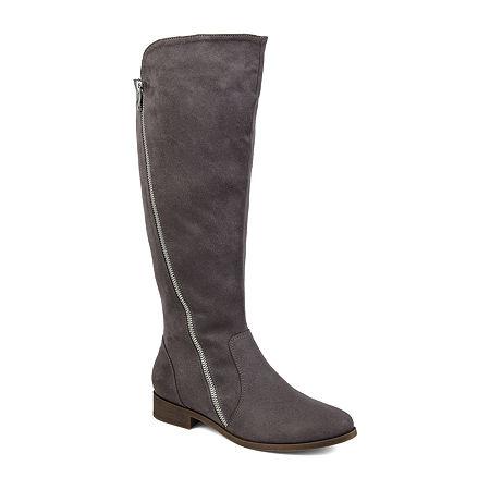 Journee Collection Womens Kerin Xwc Stacked Heel Zip Riding Boots, 9 Medium, Gray