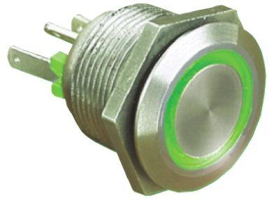 Bulgin Single Pole Single Throw (SPST) Momentary Green LED Push Button Switch, IP66, 19.2 (Dia.)mm, Panel Mount, 24V dc