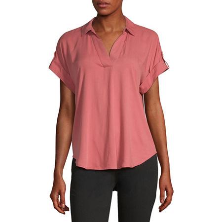 Liz Claiborne Womens Short Sleeve Twill Blouse, X-small , Pink