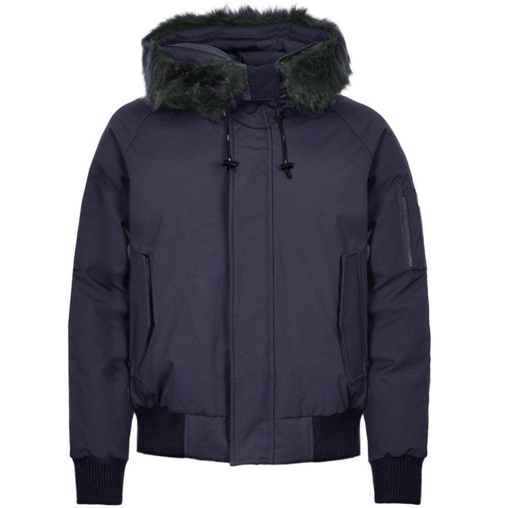 Kenzo Padded Fur Hooded Parka Jacket Colour: NAVY, Size: LARGE