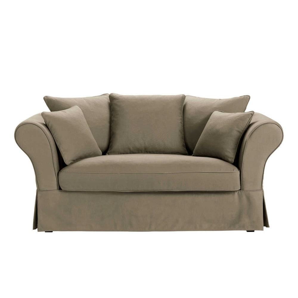 Sofa 2-/3-Sitzer aus Baumwolle, taupe Roma