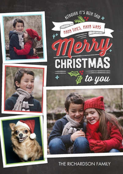 Christmas Photo Cards 5x7 Cards, Premium Cardstock 120lb with Scalloped Corners, Card & Stationery -Christmas Festive Banner Collage
