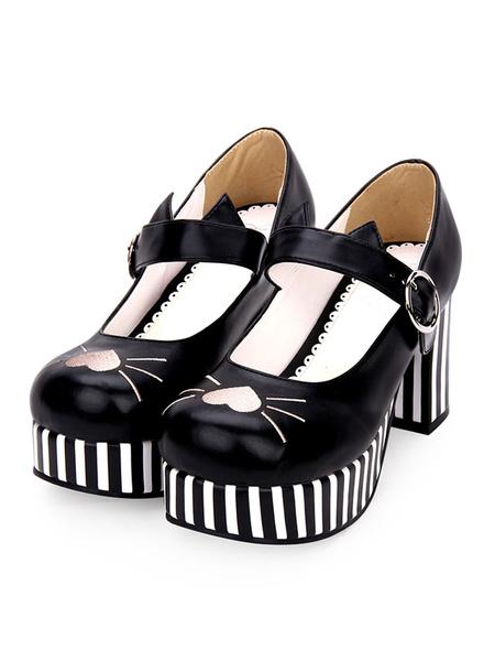 Milanoo Sweet Lolita Pumps Embroidery Stripe Strappy Platform Chunky Heel Lolita Shoes