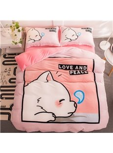 Sleeping Cute Dog Pink Flannel 4-Piece Soft Bedding Sets/Duvet Cover