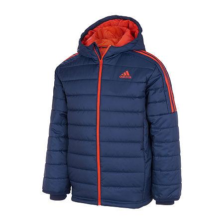 adidas Little & Big Boys Midweight Puffer Jacket, Large , Blue