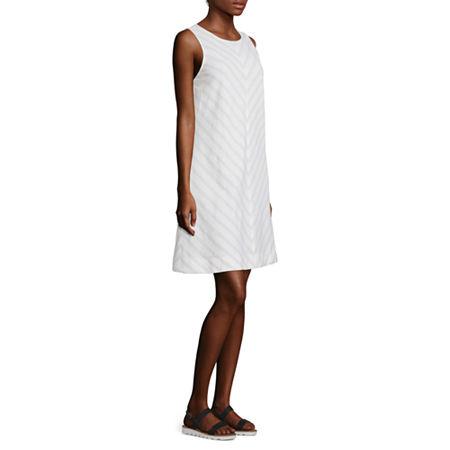 Liz Claiborne Sleeveless Striped A-Line Dress, Medium , Beige