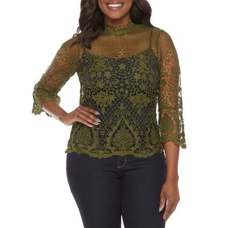 Bold Elements Womens High Neck 3/4 Sleeve Crochet Blouse, X-large , Green