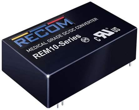 Recom REM10 10W Isolated DC-DC Converter Through Hole, Voltage in 5.5 → 9 V dc, Voltage out ±12V dc Medical