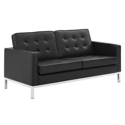 Loft Collection EEI-3388-SLV-BLK Tufted Upholstered Faux Leather Loveseat in Silver Black